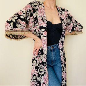 Audrey floral print boho kimono robe cover up